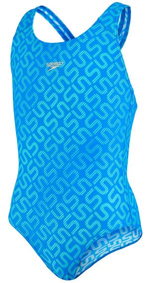 speedo Endurance10 Monogram Allover Splashback Swimsuit Girls neon blue/bali blue